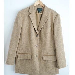 Lauren Ralph Lauren Brown Plaid Wool Blazer Jacket